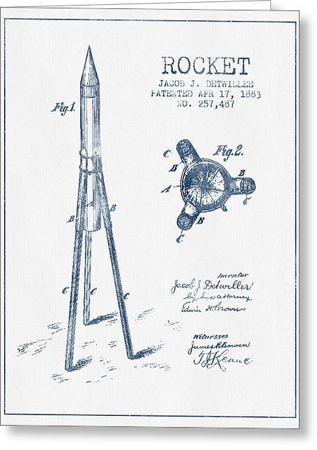 Rocket Greeting Cards - Rocket Patent Drawing From 1883 - Blue Ink Greeting Card by Aged Pixel