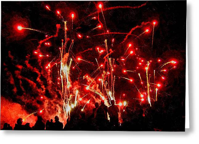 Rockets Red Glare Greeting Cards - Rockets Red Glare Greeting Card by Mike Bowers