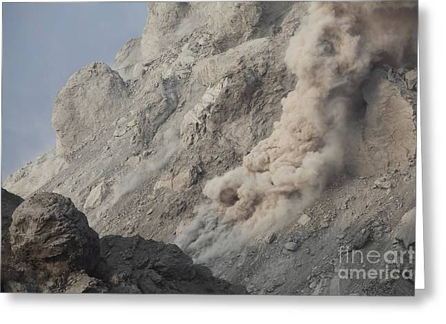 Vulcanology Greeting Cards - Rockfall On Flank Of Rerombola Lava Greeting Card by Richard Roscoe
