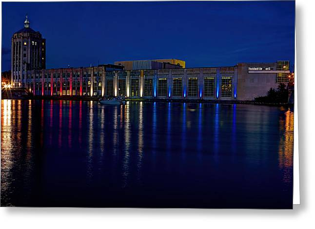 Rockford Greeting Cards - Rockford Register Star and the Rock River at Night Greeting Card by Josh Bryant