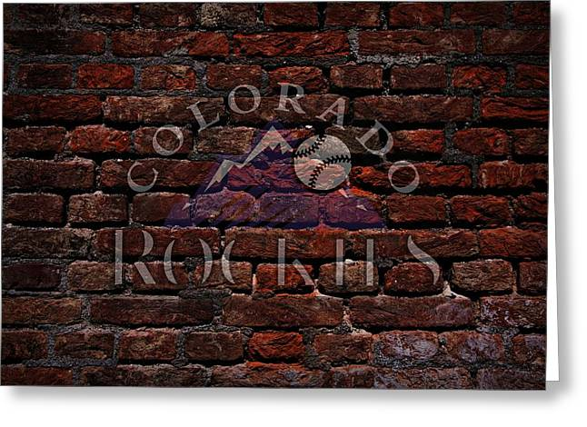Rockies Baseball Graffiti On Brick  Greeting Card by Movie Poster Prints