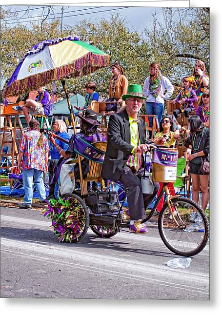 Tricycle Greeting Cards - Rockin and Rollin Mardi Gras Greeting Card by Steve Harrington