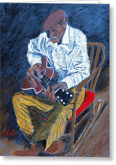African-americans Pastels Greeting Cards - Rockin Chair Blues Greeting Card by Charlie Black