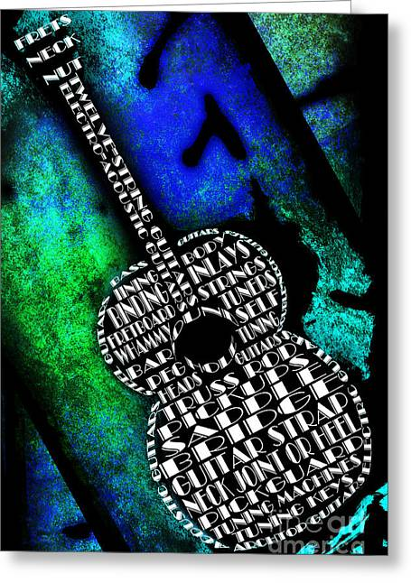 Component Digital Art Greeting Cards - Rockin Guitar In Blue And Green Greeting Card by Andee Design