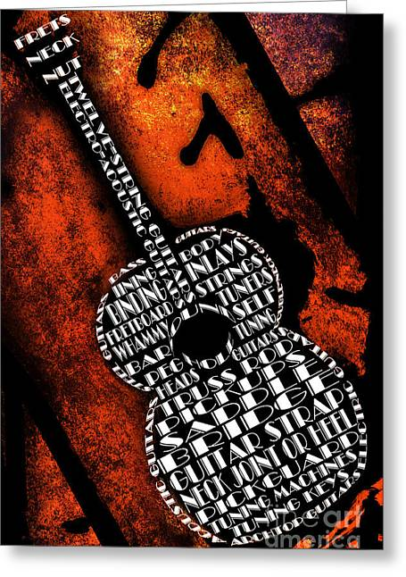 Component Digital Art Greeting Cards - Rockin Guitar In Orange Greeting Card by Andee Design
