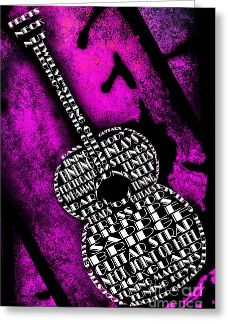 Component Digital Greeting Cards - Rockin Guitar In Pink Greeting Card by Andee Design