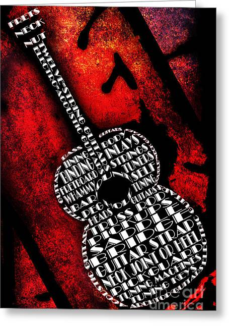 Component Greeting Cards - Rockin Guitar In Red Typography Greeting Card by Andee Design