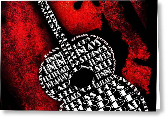 Rockin Guitar In Red Typography Greeting Card by Andee Design