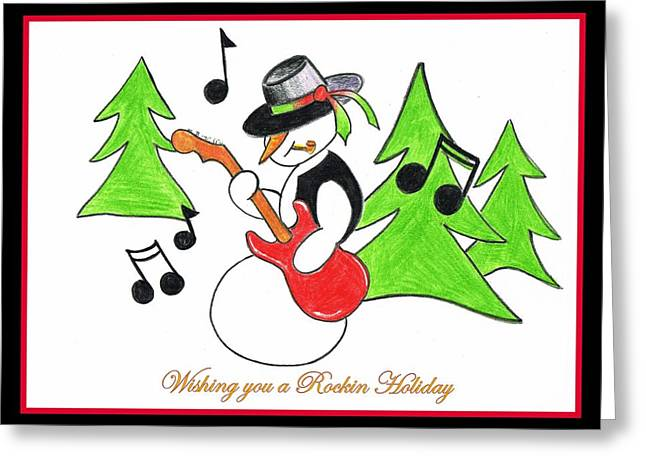 Frosty Pastels Greeting Cards - Rockin Holiday Snowman Greeting Card by Chris Fraser