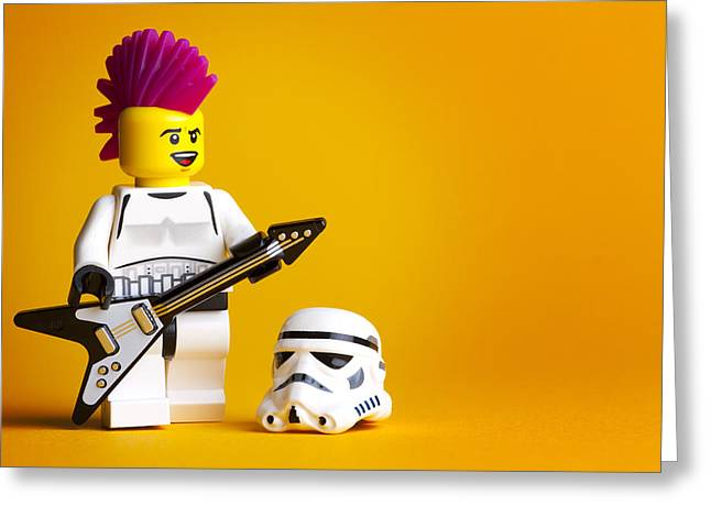 Lego Greeting Cards - Rockin Out Greeting Card by Samuel Whitton