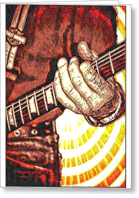 """""""fret Board"""" Greeting Cards - Rockin the Blues Greeting Card by Larisa Porter"""