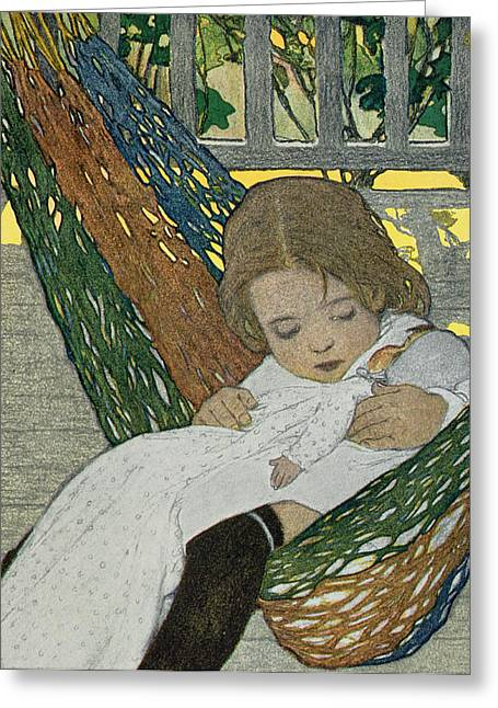 Sit-ins Drawings Greeting Cards - Rocking Baby Doll To Sleep Greeting Card by Jessie Willcox Smith