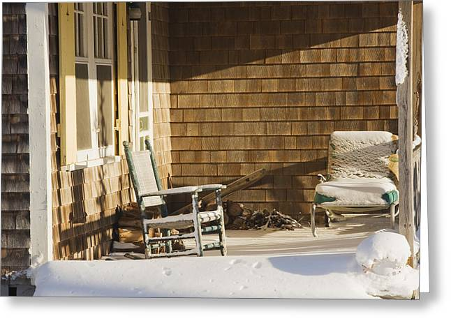 Seating Greeting Cards - Rocking Chair And Snow On Cottage Porch Winter Greeting Card by Keith Webber Jr