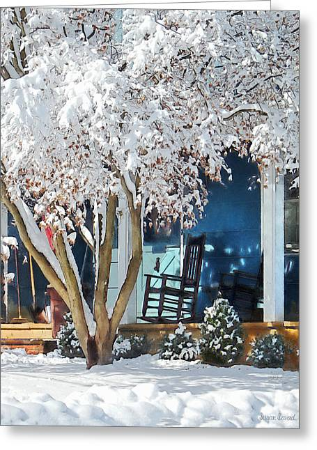 Chairs Greeting Cards - Rocking Chair on Porch in Winter Greeting Card by Susan Savad