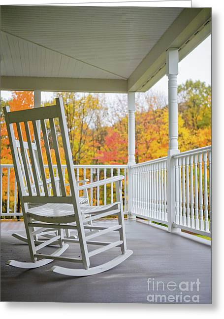 Front Porches Greeting Cards - Rocking chairs on a porch in Autumn Greeting Card by Diane Diederich