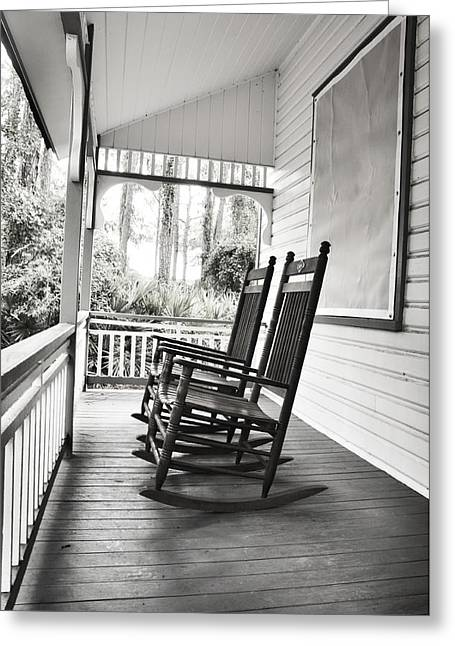 Old Porch Greeting Cards - Rocking Chairs on Porch Greeting Card by Rebecca Brittain