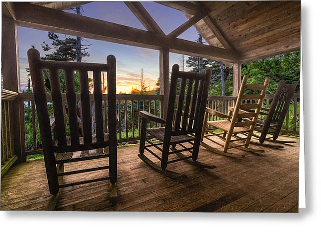 Mountaintop. Trees Greeting Cards - Rocking Chairs on the Porch Greeting Card by Debra and Dave Vanderlaan