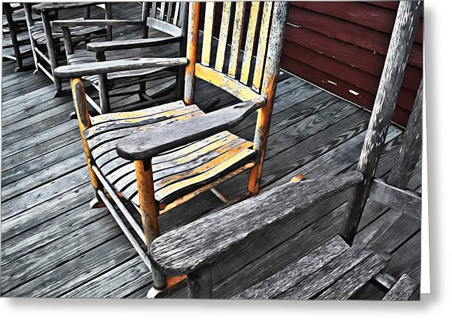 Rocking Chairs Digital Art Greeting Cards - Rocking Chairs Greeting Card by Patrick M Lynch