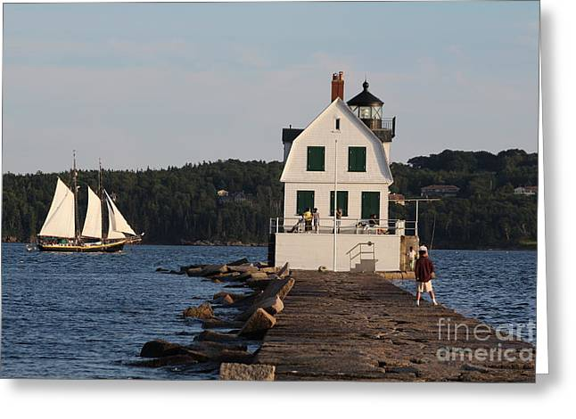 Cape Neddick Greeting Cards - Rockland Breakwater Light 8986 Greeting Card by Joseph Marquis