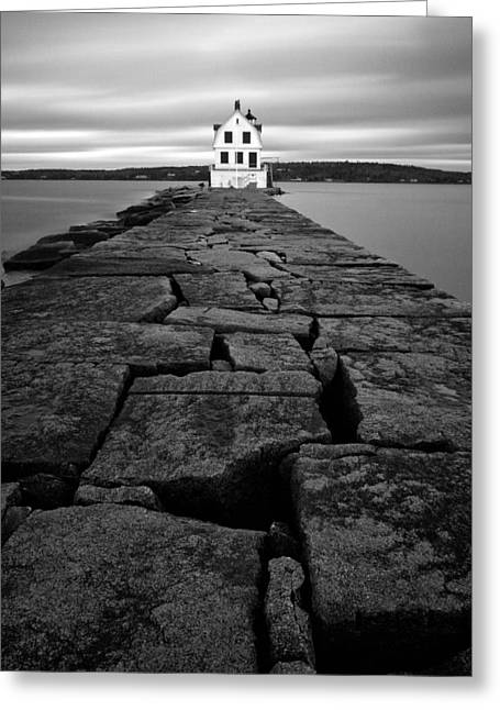 Maine Landscape Greeting Cards - Rockland Breakwater Light Greeting Card by Patrick Downey