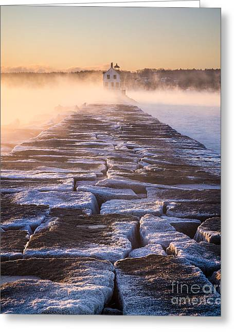 Rockland Breakwater Lighthouse Greeting Card by Benjamin Williamson