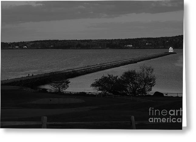 Rockland Breakwater Lighthouse  - Black And White Greeting Card by Trish Hebendahl