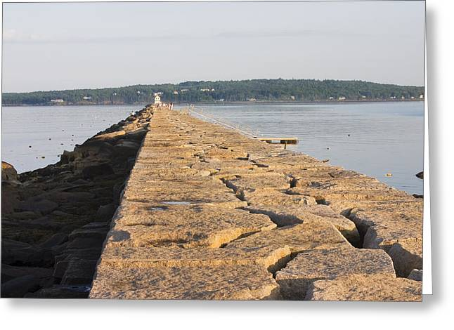 New England Lighthouse Photographs Greeting Cards - Rockland Breakwater Lighthouse Coast of Maine Greeting Card by Keith Webber Jr