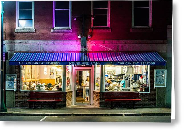 Main Street Greeting Cards - Rockland Cafe at Night Greeting Card by Tim Sullivan