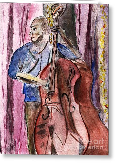 Session Musician Greeting Cards - Rockn the Big Bass Greeting Card by Elizabeth Briggs