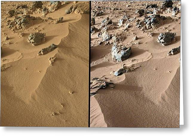 Curiosity Rover Greeting Cards - Rocknest site, Mars, Curiosity images Greeting Card by Science Photo Library