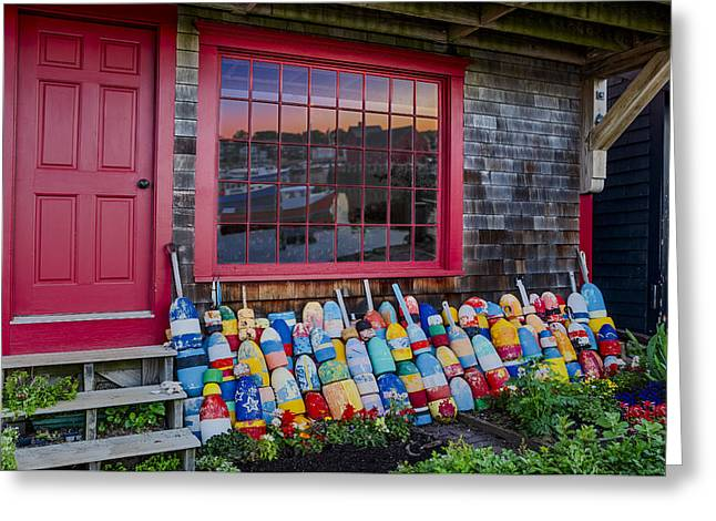 Red Fishing Shack Greeting Cards - Rockport Buoys Greeting Card by Susan Candelario