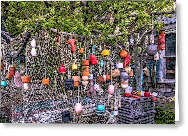 Wharf Greeting Cards - Rockport Fishing Net And Buoys Greeting Card by Susan Candelario