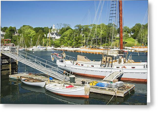 Blue Sailboat Greeting Cards - Rockport Harbor and Boats on The Coast Of Maine Greeting Card by Keith Webber Jr
