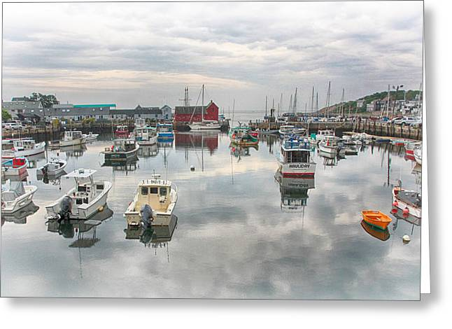 Lobster Shack Greeting Cards - Rockport Harbor and Motif 1 Greeting Card by Stephen Stookey