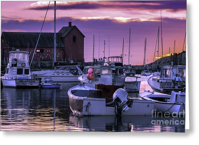 New England Village Scene Greeting Cards - Rockport Harbor at Sunrise - Open Edition Greeting Card by Thomas Schoeller
