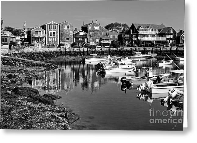 Rockport Ma Greeting Cards - Rockport Harbor - bw Greeting Card by Nikolyn McDonald