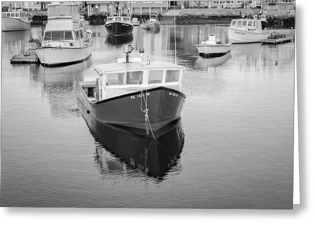 Wharf Greeting Cards - Rockport Harbor Marina BW Greeting Card by Susan Candelario