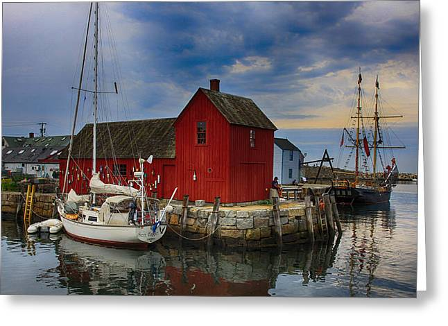 Lobster Shack Greeting Cards - Rockport Harbor Motif Number 1 Greeting Card by Stephen Stookey