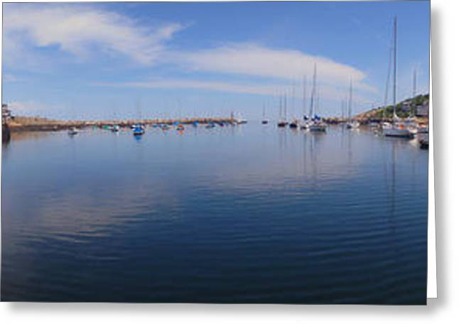 Lobster Shack Greeting Cards - Rockport Harbor Panoramic Greeting Card by Joann Vitali