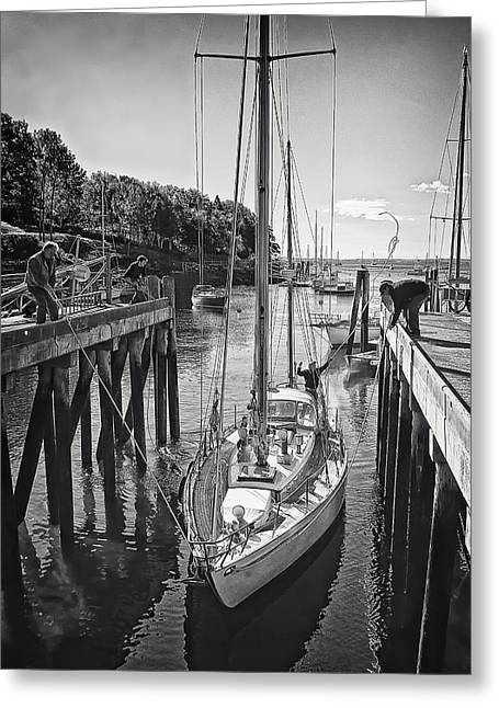 Docked Sailboats Greeting Cards - Rockport Harbor Greeting Card by Priscilla Burgers