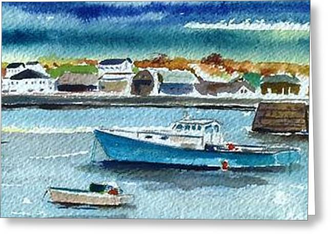 Scott Nelson And Son Paintings Greeting Cards - Rockport Harbor Greeting Card by Scott Nelson
