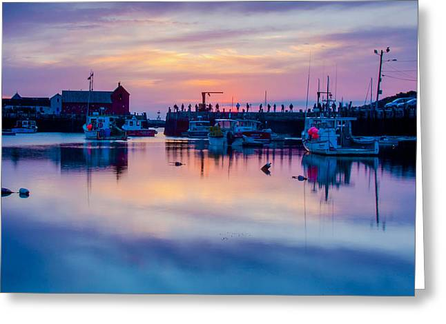 Rockport harbor sunrise over Motif #1 Greeting Card by Jeff Folger