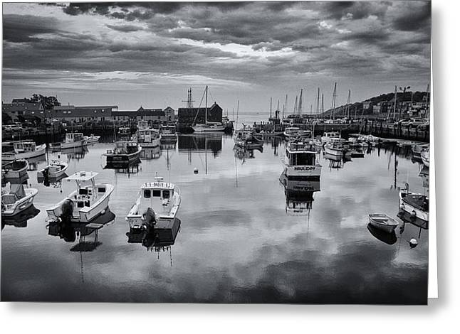 Lobster Shack Greeting Cards - Rockport Harbor View - BW Greeting Card by Stephen Stookey