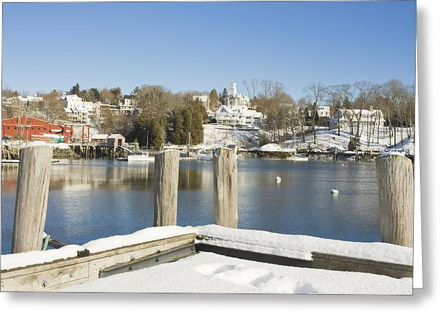 Downeast Maine Greeting Cards - Rockport in Winter on The Coast Of Maine Greeting Card by Keith Webber Jr