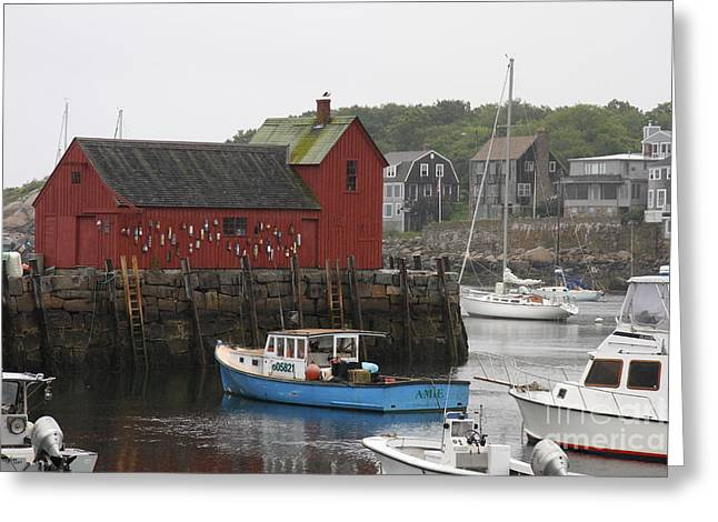 Lobster Shack Greeting Cards - Rockport Inner Harbor With Lobster Fleet And Motif No.1 Greeting Card by Christiane Schulze Art And Photography