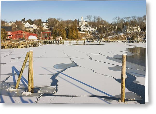 Rockport Maine in Winter Greeting Card by Keith Webber Jr