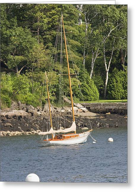 Coastal Maine Greeting Cards - Rockport Maine Sailboat Greeting Card by Keith Webber Jr