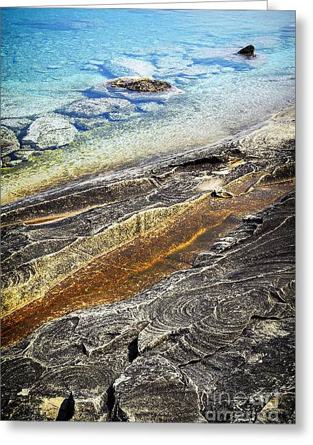 Stones Greeting Cards - Rocks and clear water abstract Greeting Card by Elena Elisseeva