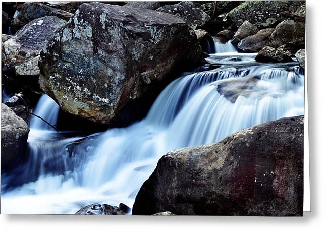 Rocks And Waterfall Greeting Card by Adam LeCroy