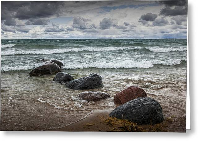 Sturgeon Greeting Cards - Rocks and waves at Wilderness Park in Sturgeon Bay Greeting Card by Randall Nyhof